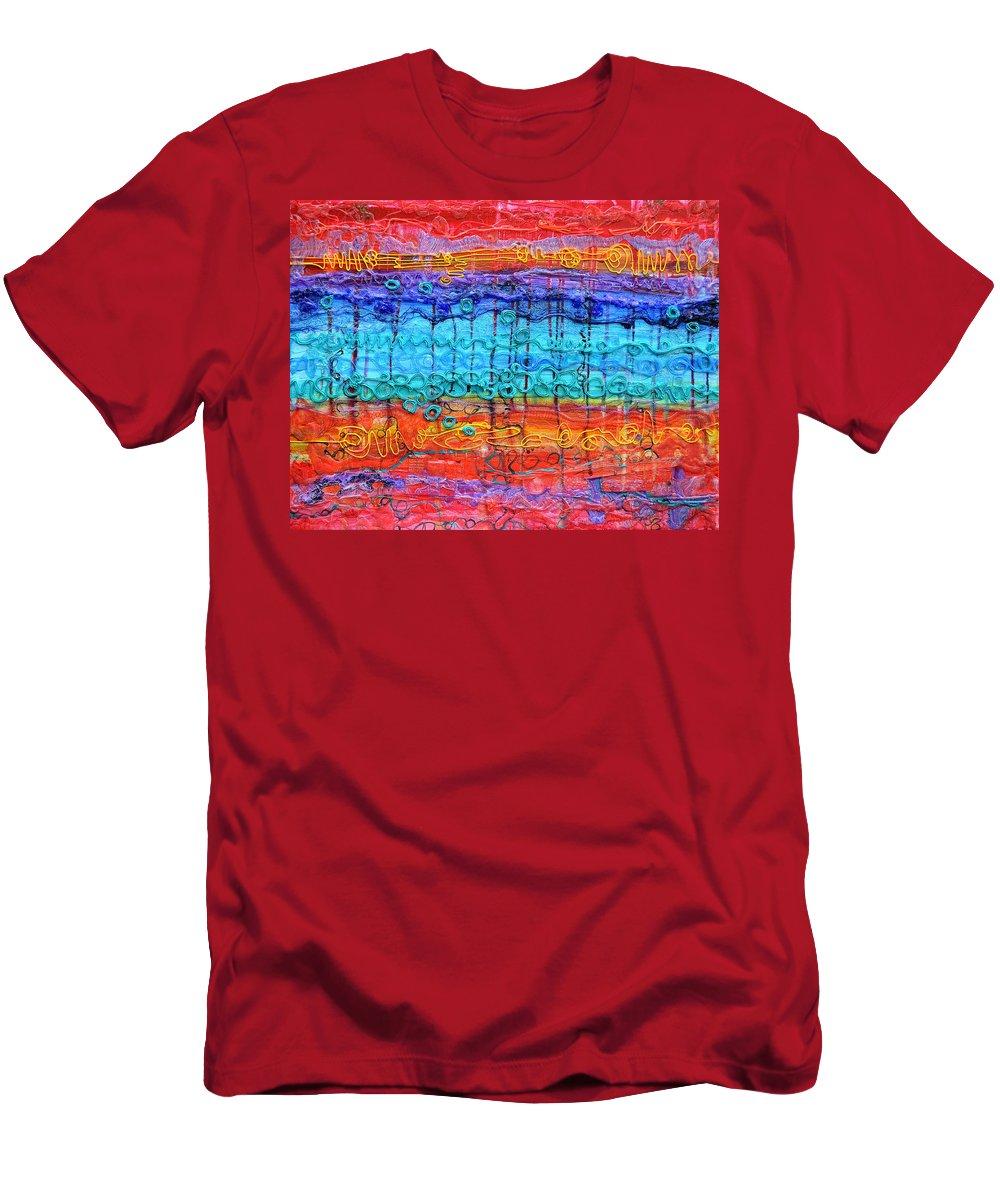 Quantum Men's T-Shirt (Athletic Fit) featuring the painting Quantum Cascade by Regina Valluzzi