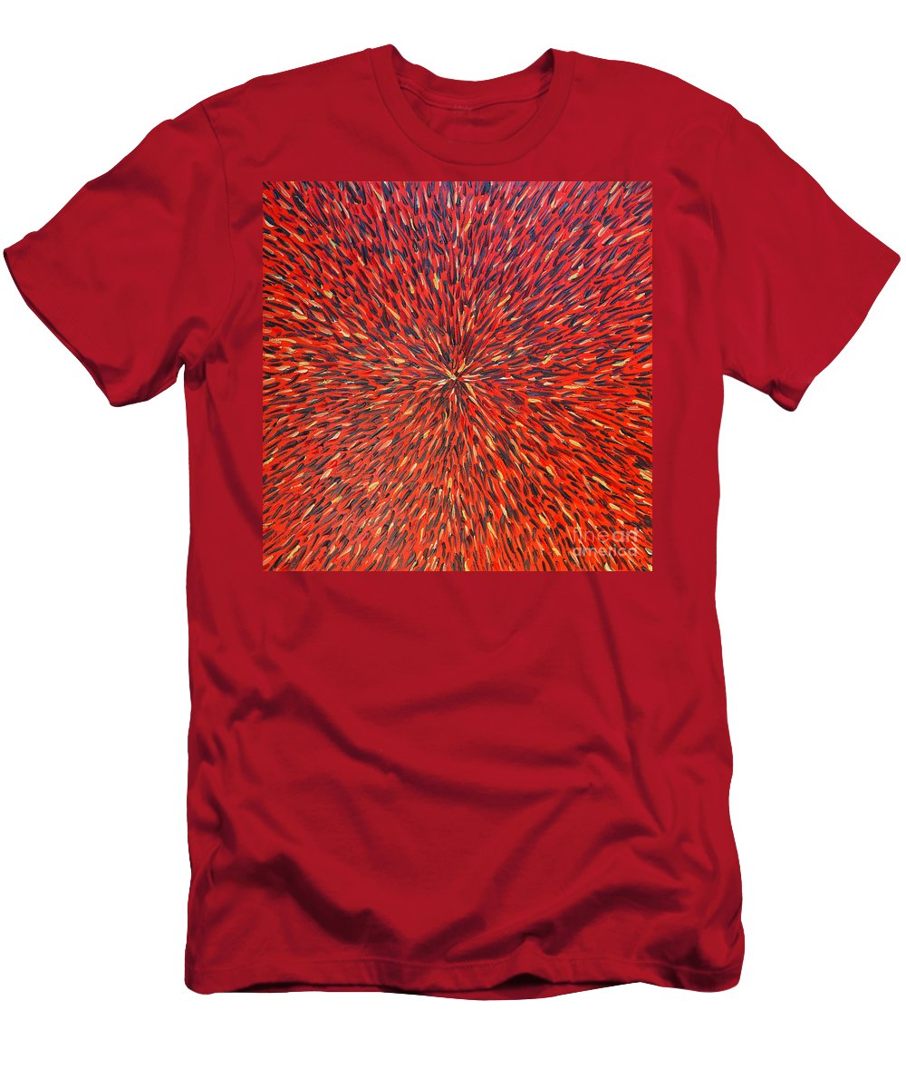 Abstract Men's T-Shirt (Athletic Fit) featuring the painting Radiation Red by Dean Triolo