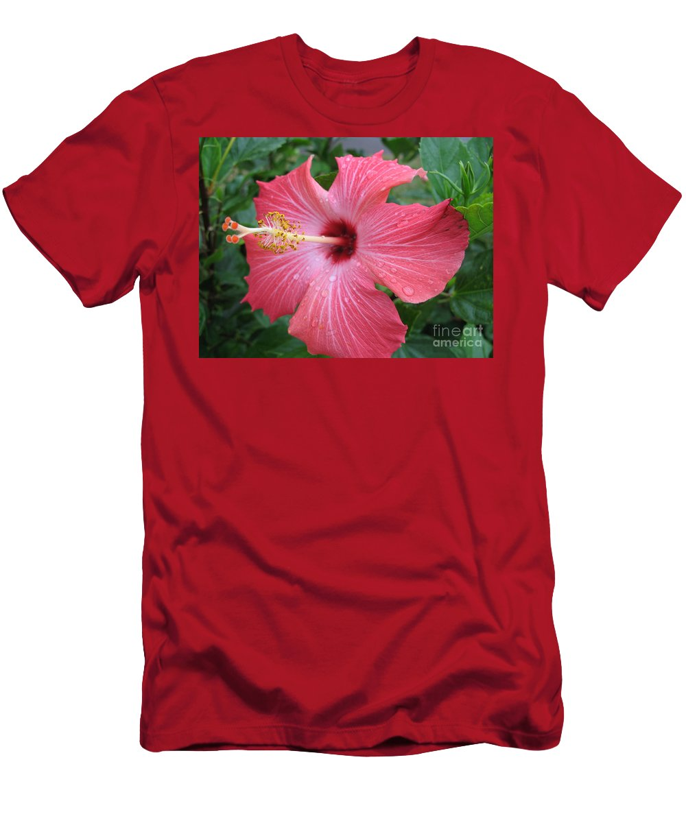 Hibiscus Men's T-Shirt (Athletic Fit) featuring the photograph Rain Soaked Hibiscus by Christiane Schulze Art And Photography