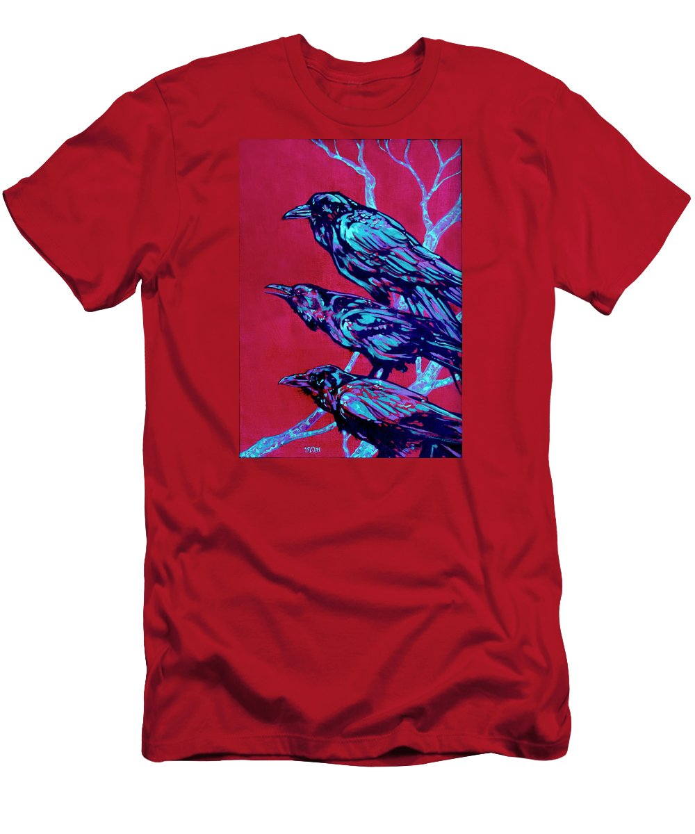 Contemporary Art Men's T-Shirt (Athletic Fit) featuring the painting Raven by Derrick Higgins