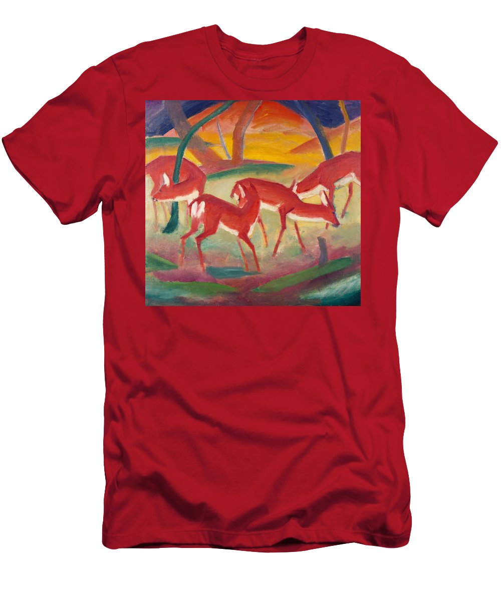 Blaue Reiter; Expressionist; German Expressionist; Red; Deer; Animal; Animals; Herd; Grazing; Landscape; Rural; Countryside; Nature; Wildlife; Sunset; Setting Sun; Calm; Peaceful; Tranquil; Atmospheric; Stylised Men's T-Shirt (Athletic Fit) featuring the painting Red Deer 1 by Franz Marc