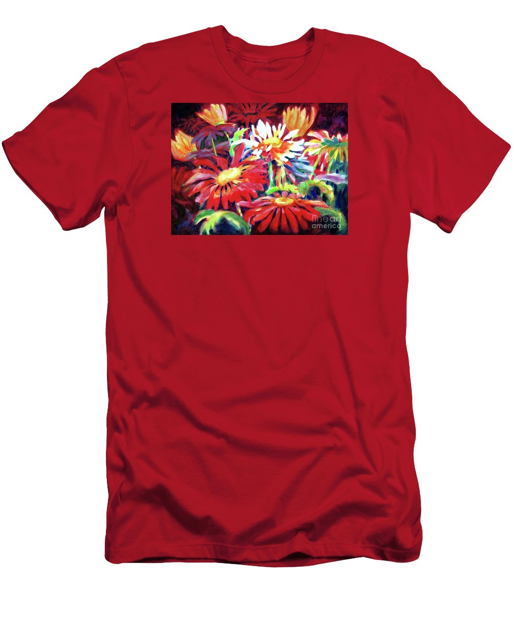 Paintings Men's T-Shirt (Athletic Fit) featuring the painting Red Floral Mishmash by Kathy Braud
