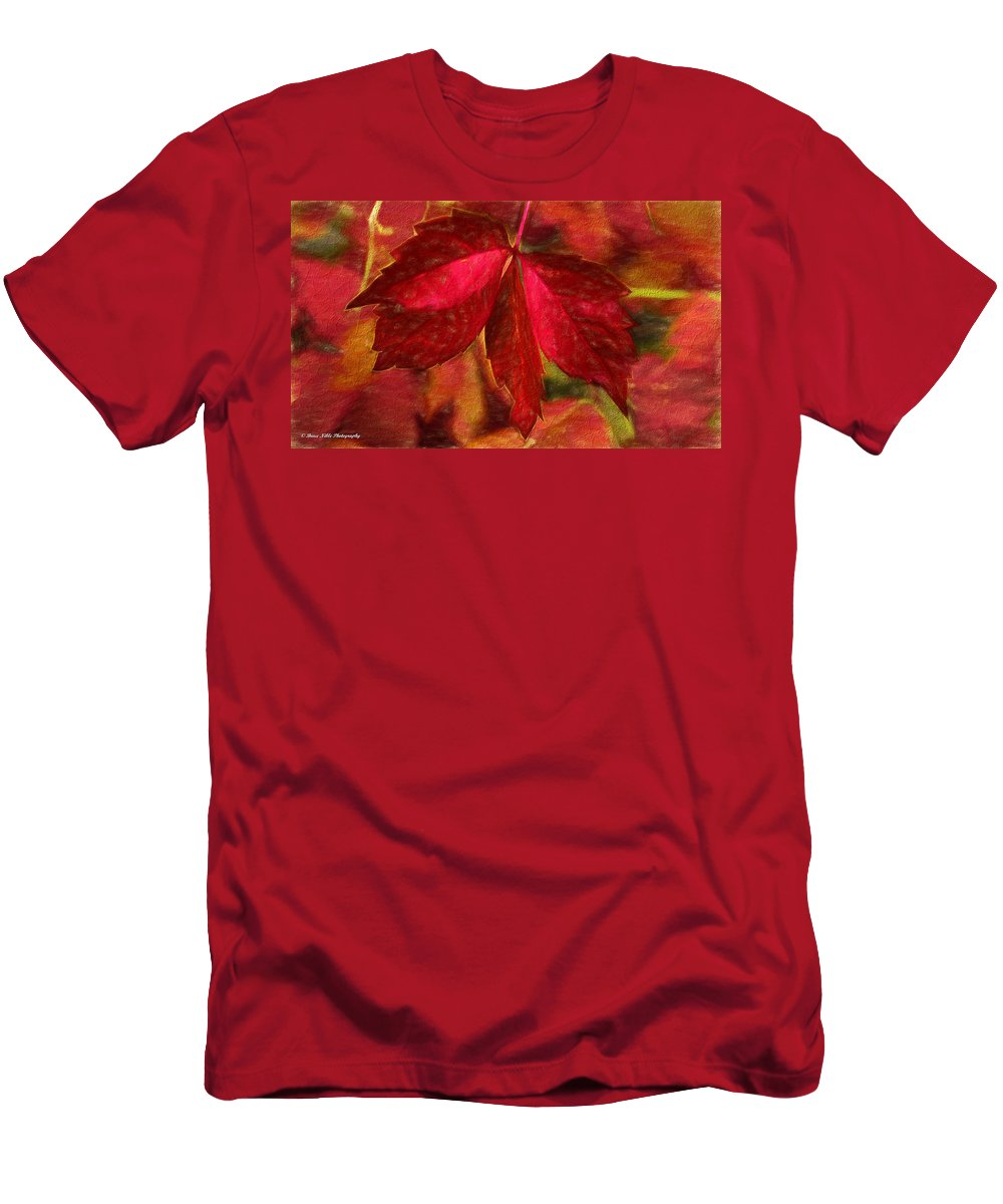Digital Photography Men's T-Shirt (Athletic Fit) featuring the photograph Red Leaves - Cave Dwelle by Bruce Nikle