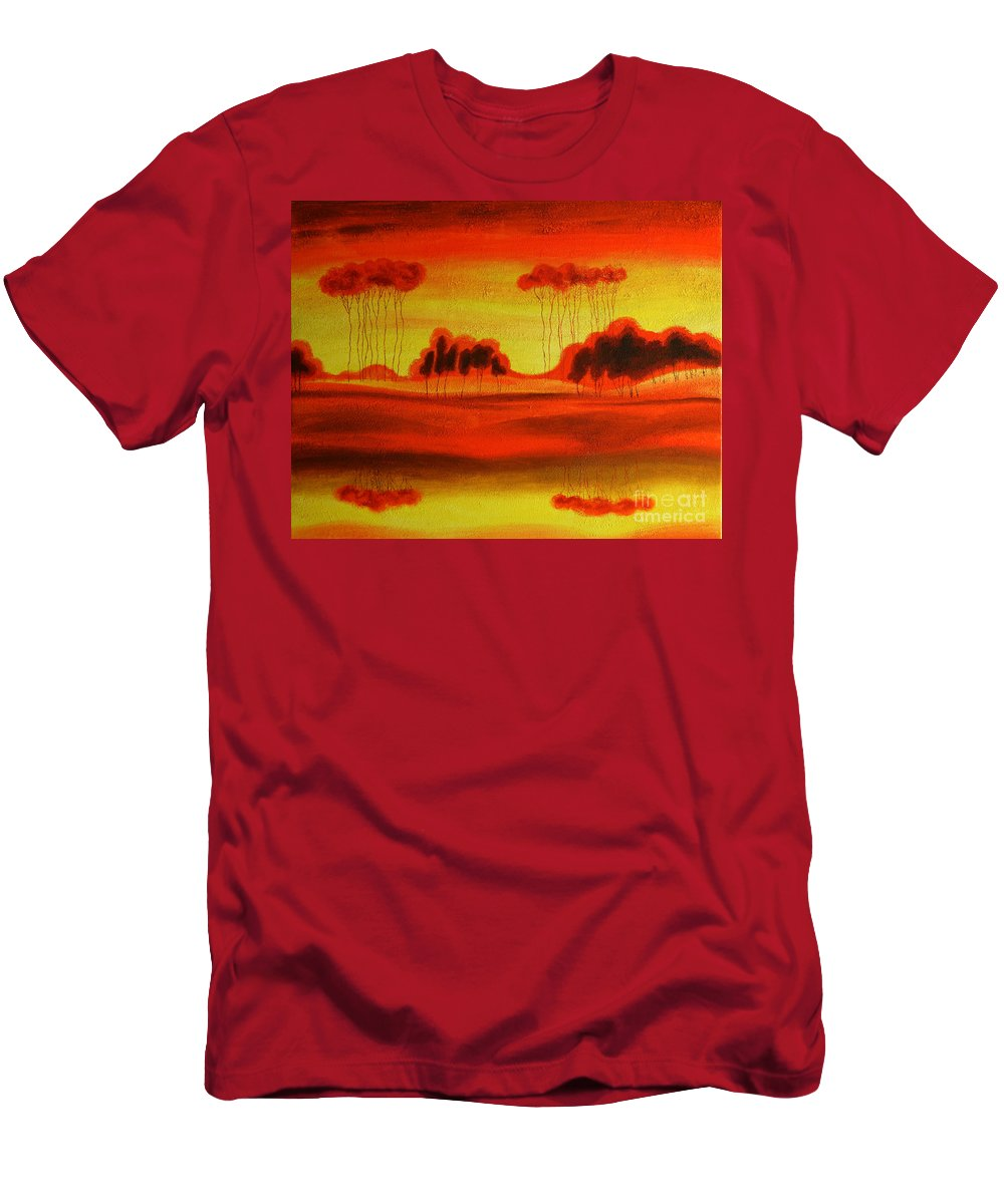 Love Paintings Paintings Men's T-Shirt (Athletic Fit) featuring the painting Red Planet by Leon Zernitsky