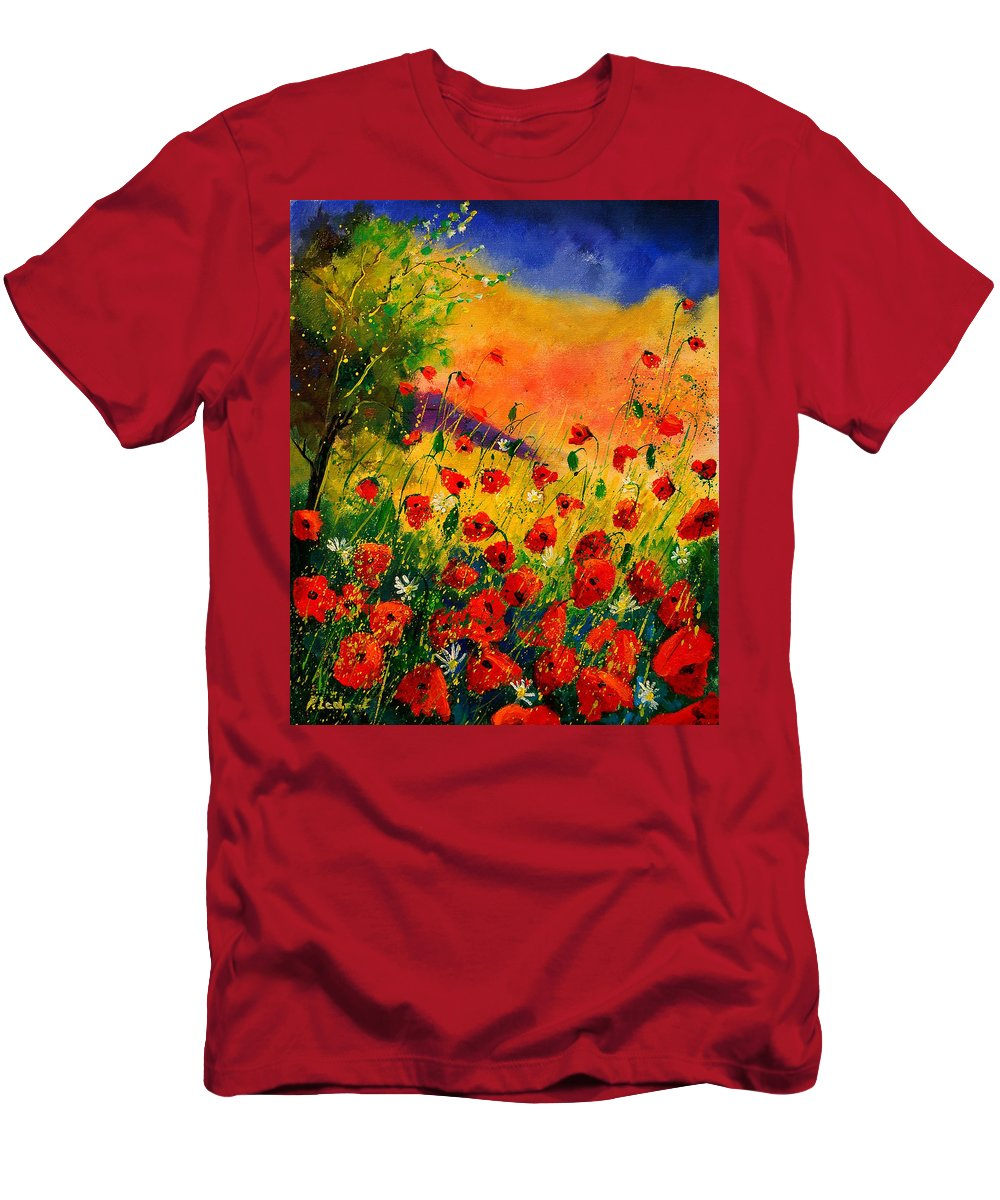 Poppies Men's T-Shirt (Athletic Fit) featuring the painting Red Poppies 45 by Pol Ledent