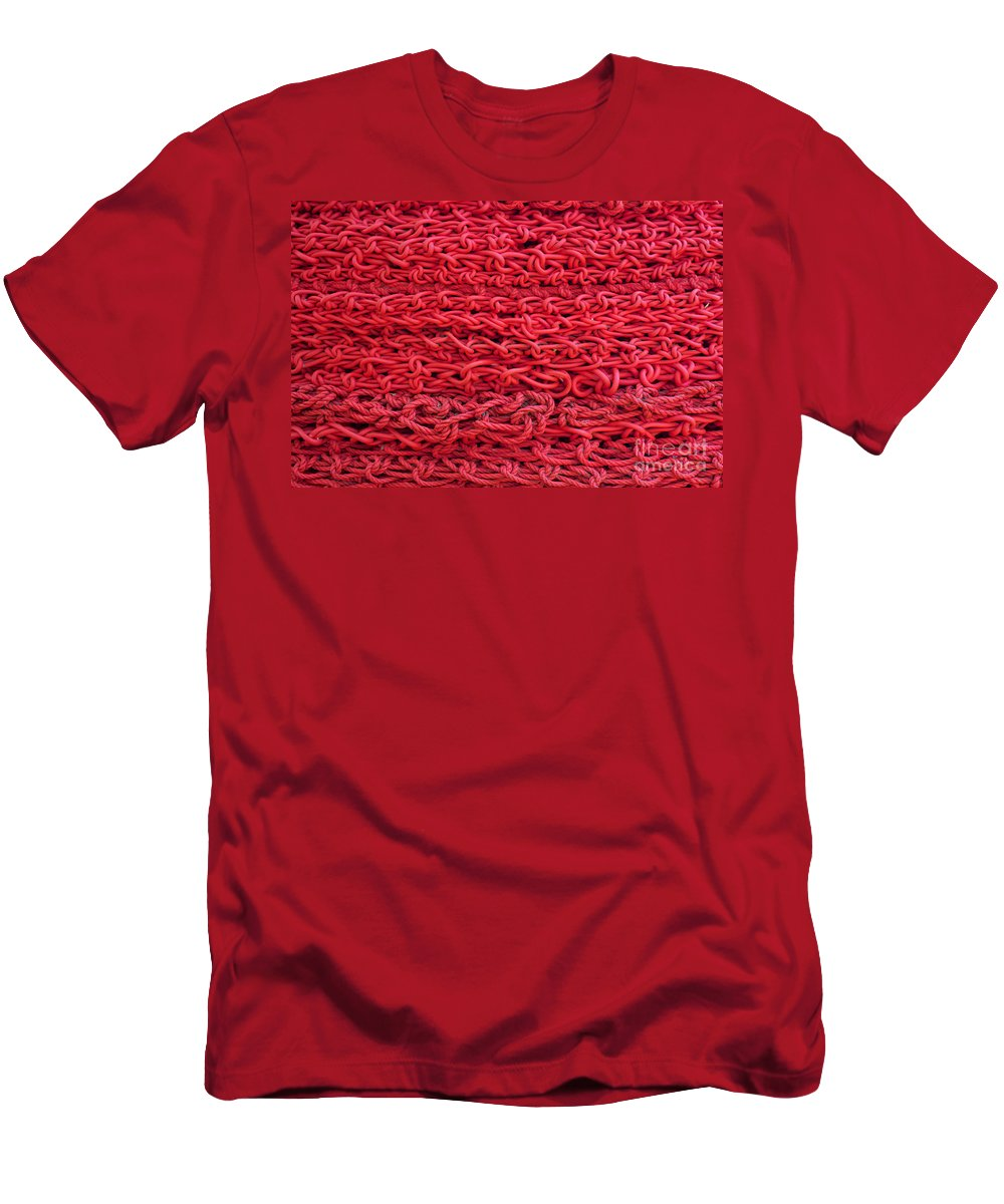 Background Men's T-Shirt (Athletic Fit) featuring the photograph Red Rope Stack by Jannis Werner