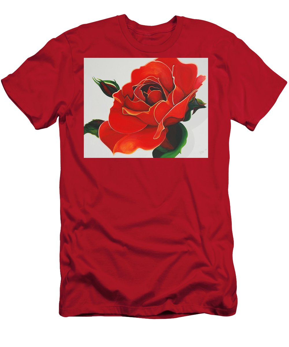 Red Rose Men's T-Shirt (Athletic Fit) featuring the painting Red Rose by Catt Kyriacou
