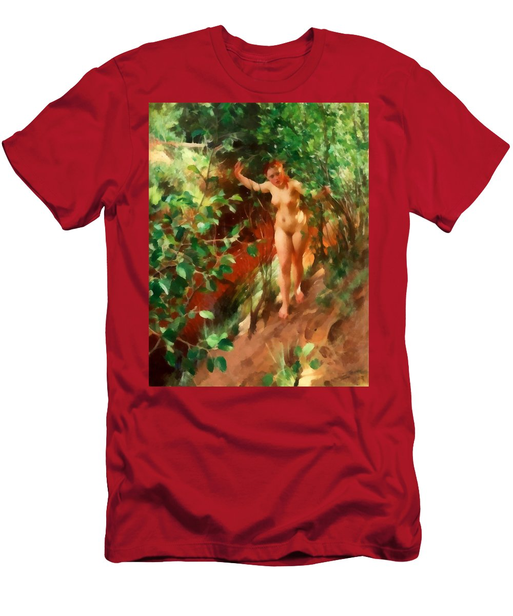 Anders Zorn Men's T-Shirt (Athletic Fit) featuring the digital art Red Sand by Anders Zorn