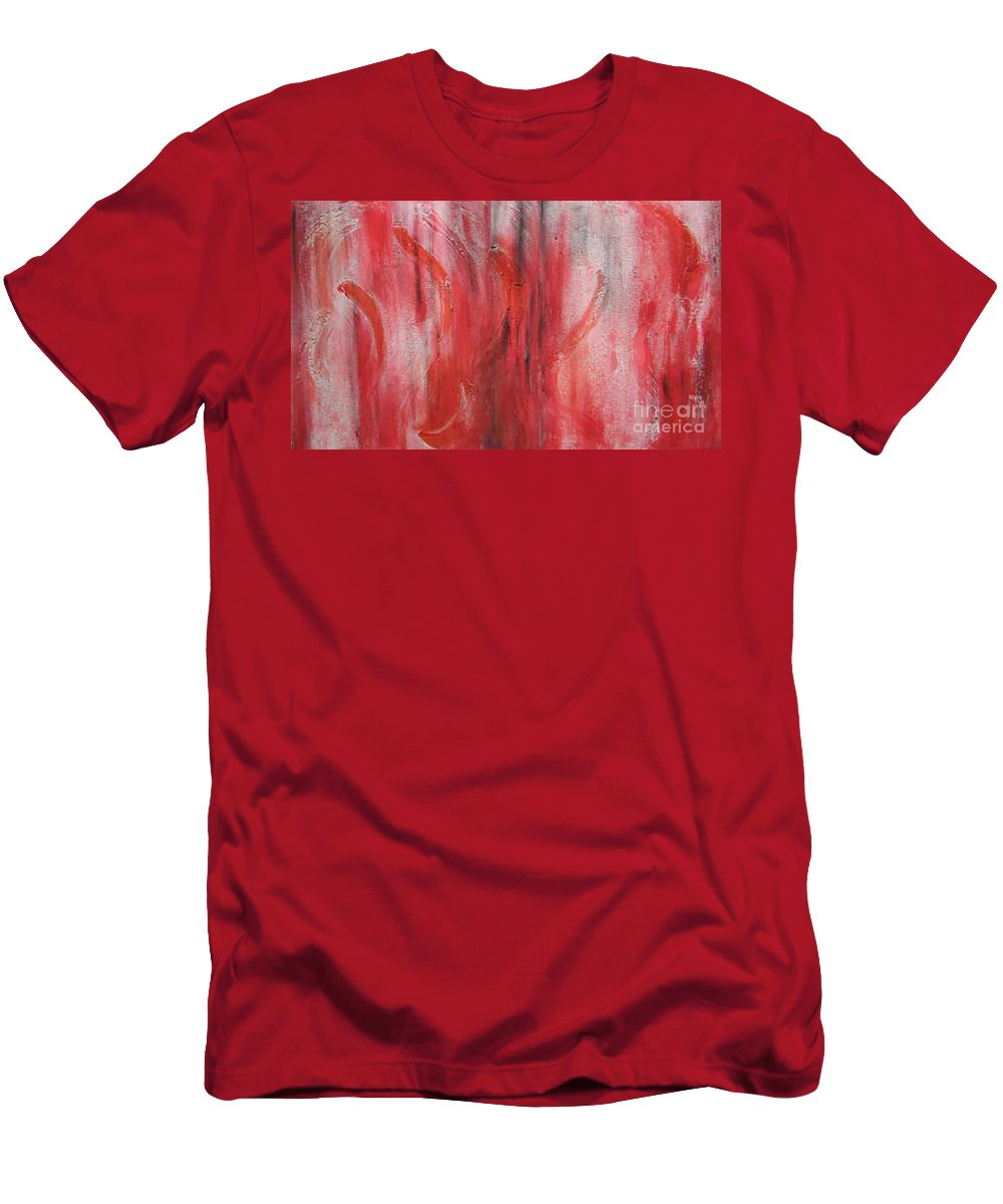 Modern Art Men's T-Shirt (Athletic Fit) featuring the painting Red Sea by Silvana Abel