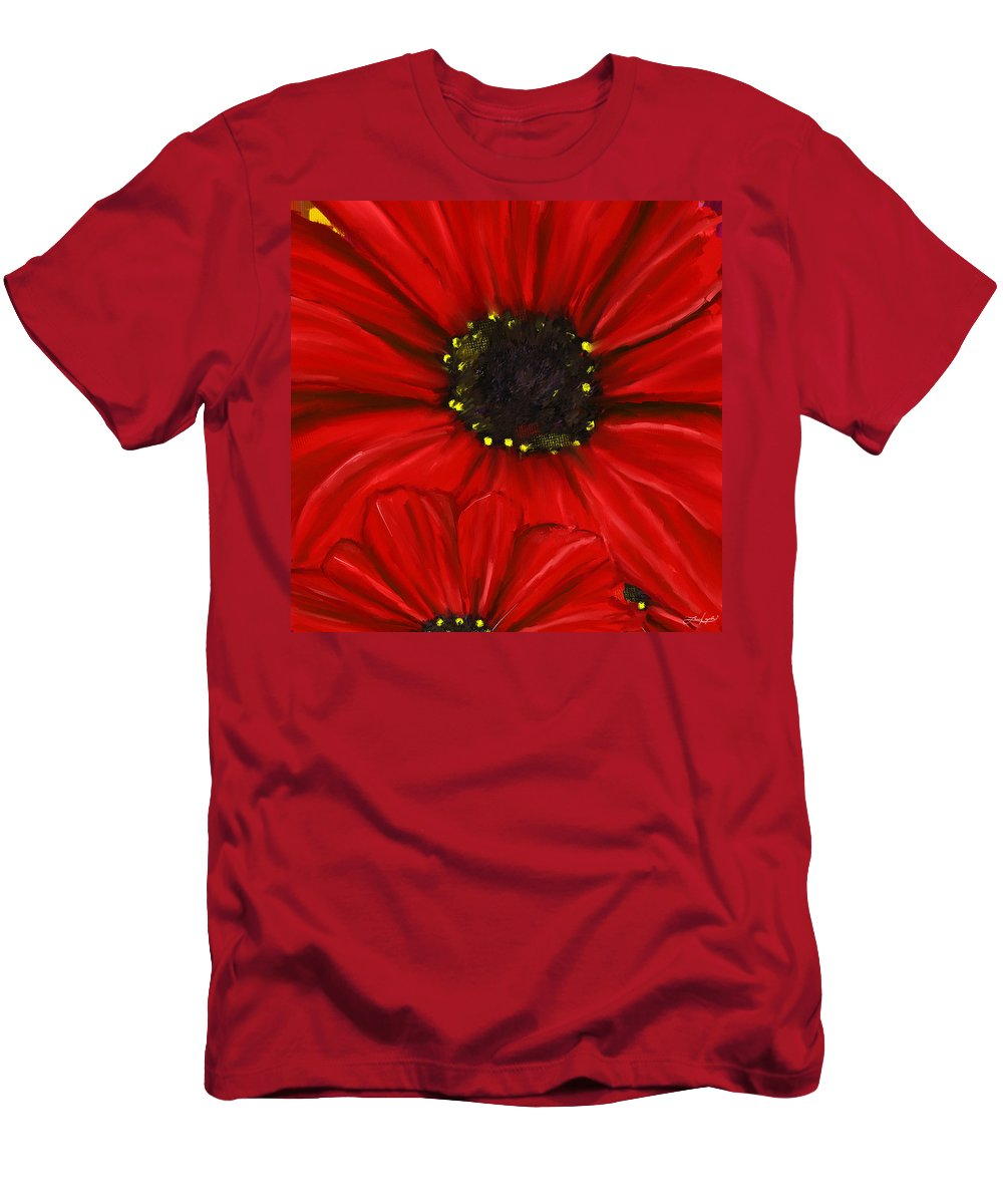 Red Daisy Men's T-Shirt (Athletic Fit) featuring the painting Red Spectacular- Red Gerbera Daisy Painting by Lourry Legarde