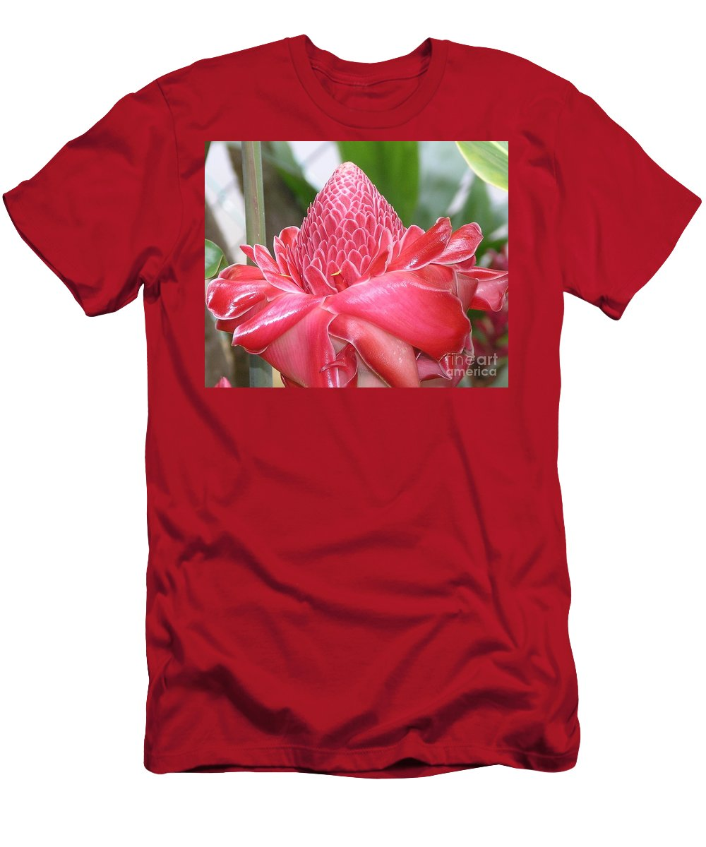 Ginger Men's T-Shirt (Athletic Fit) featuring the photograph Red Torch Ginger by Mary Deal