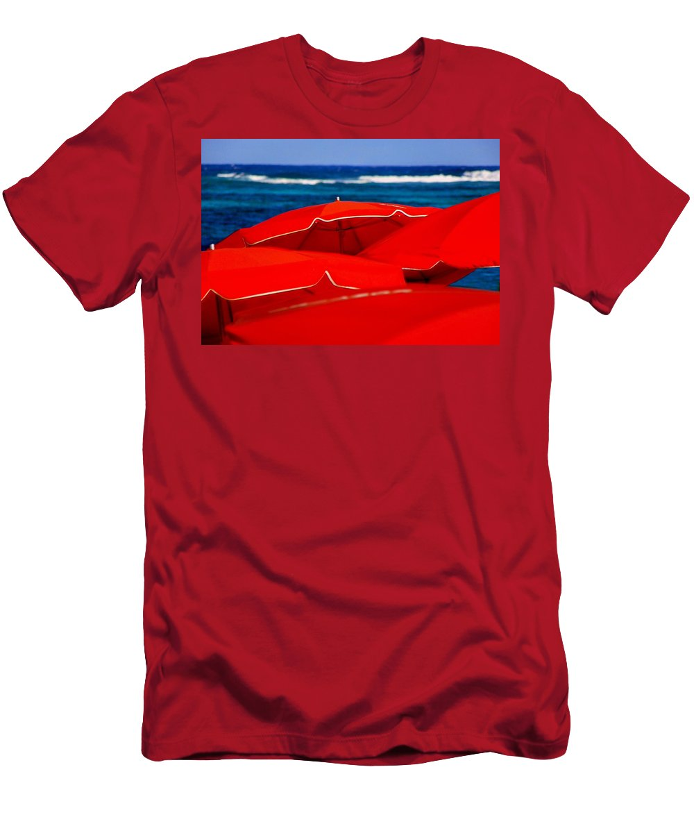 Umbrellas Men's T-Shirt (Athletic Fit) featuring the photograph Red Umbrellas by Karen Wiles