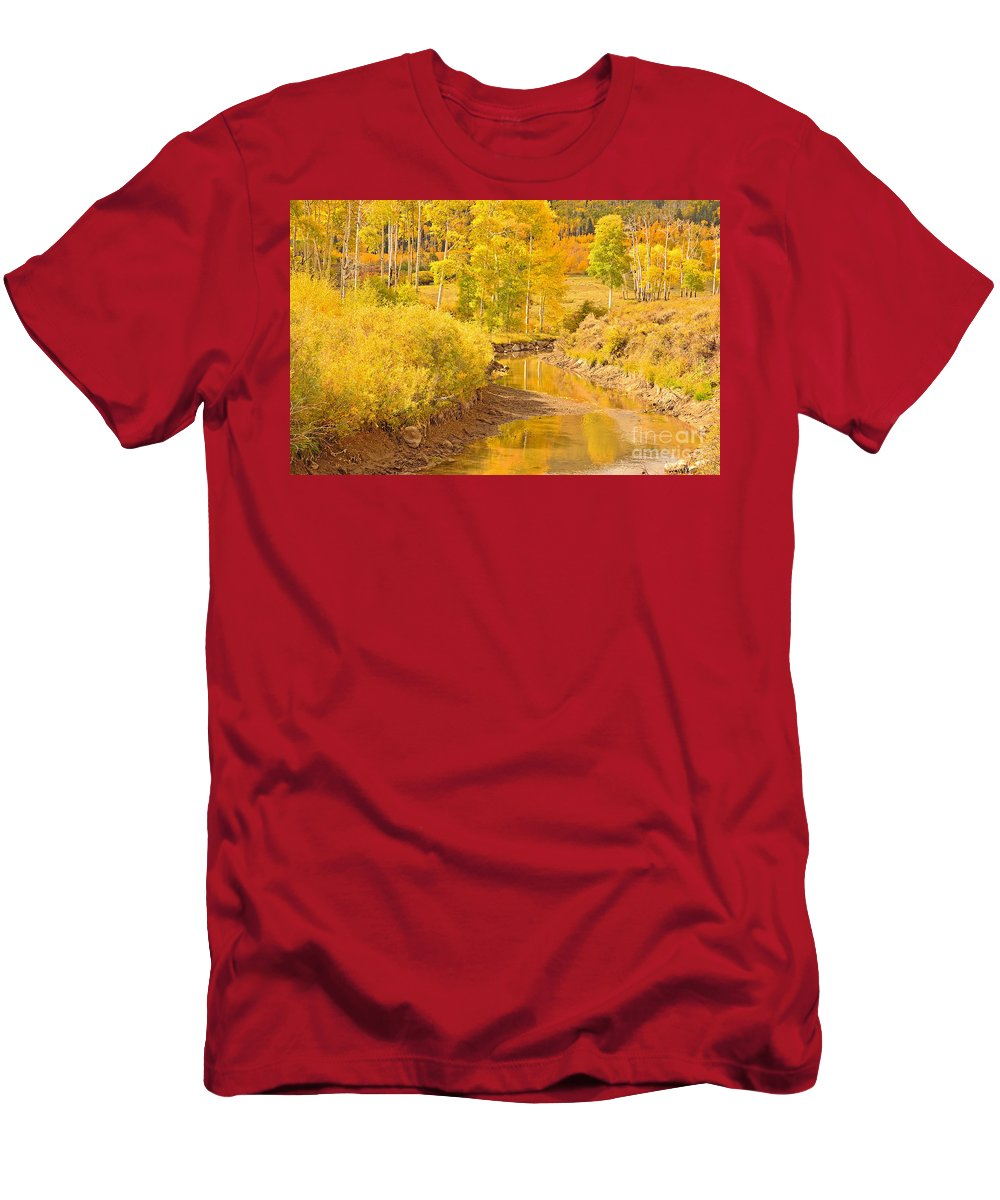 Aspen Men's T-Shirt (Athletic Fit) featuring the photograph Reflections Of Gold by Kelly Black