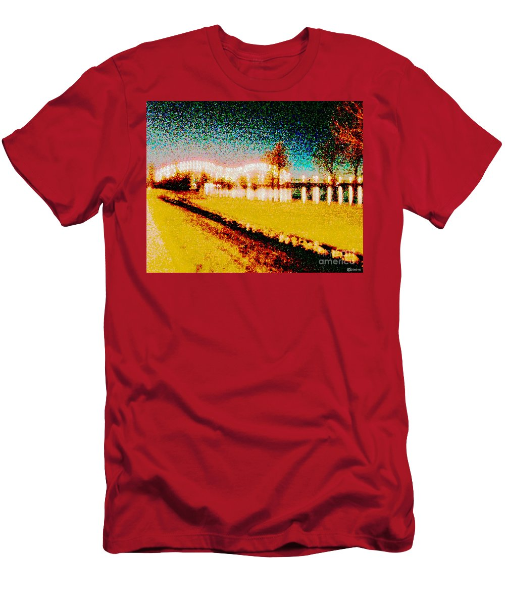 Digital Art Men's T-Shirt (Athletic Fit) featuring the digital art River Lights by Lizi Beard-Ward