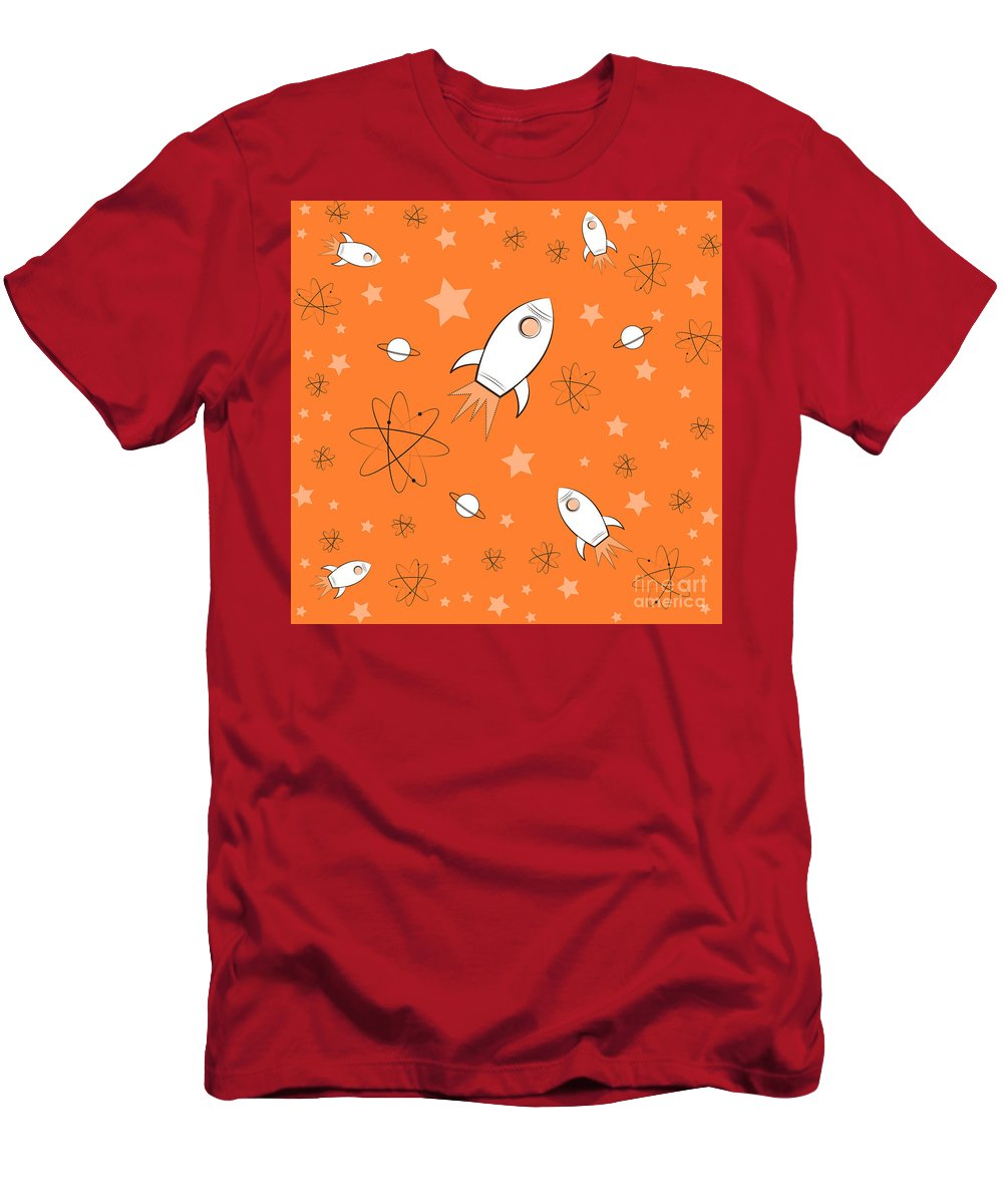 Rocket Men's T-Shirt (Athletic Fit) featuring the painting Rocket Science Orange by Amy Kirkpatrick