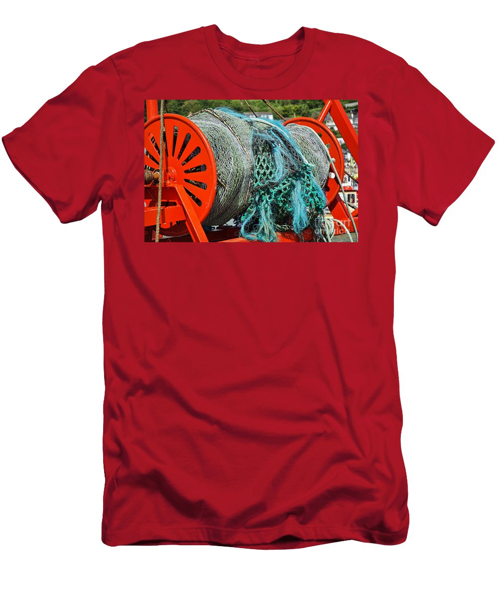 Spanish Eyes Lll Men's T-Shirt (Athletic Fit) featuring the photograph Rolled-up Nets by Susie Peek