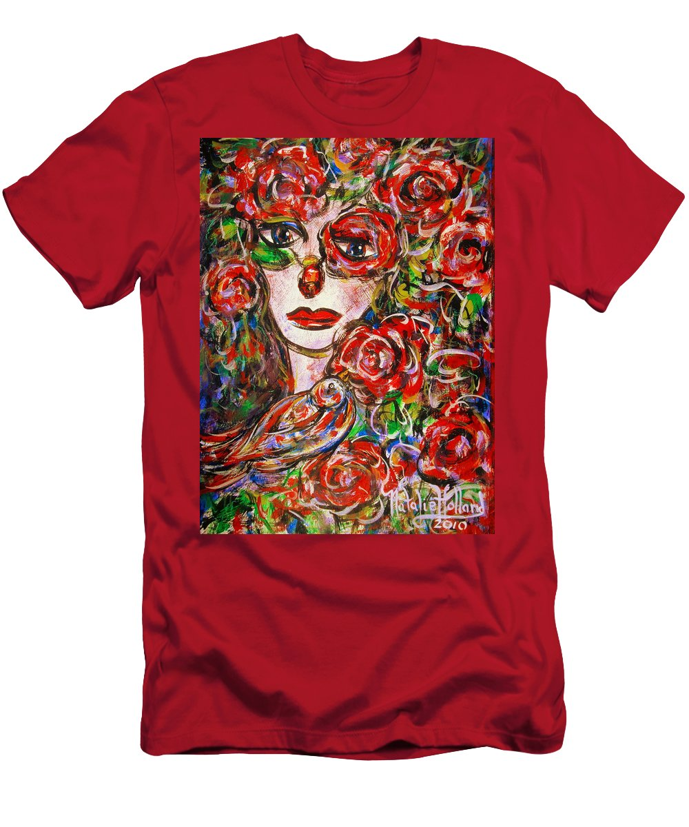 Expressionism Men's T-Shirt (Athletic Fit) featuring the painting Rose by Natalie Holland