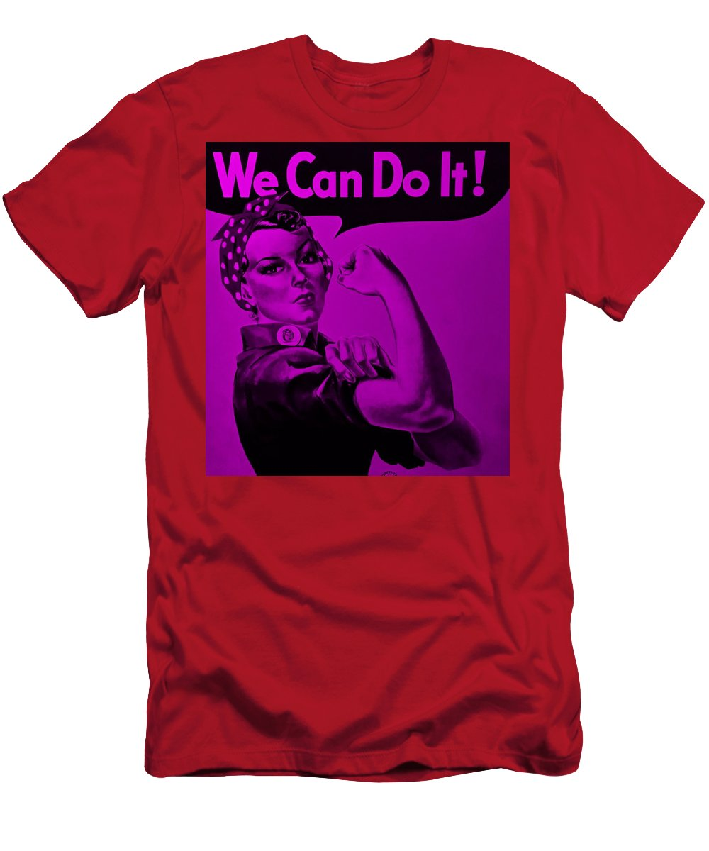 Rosie The Riveter Men's T-Shirt (Athletic Fit) featuring the photograph Rosie In Purple by Rob Hans