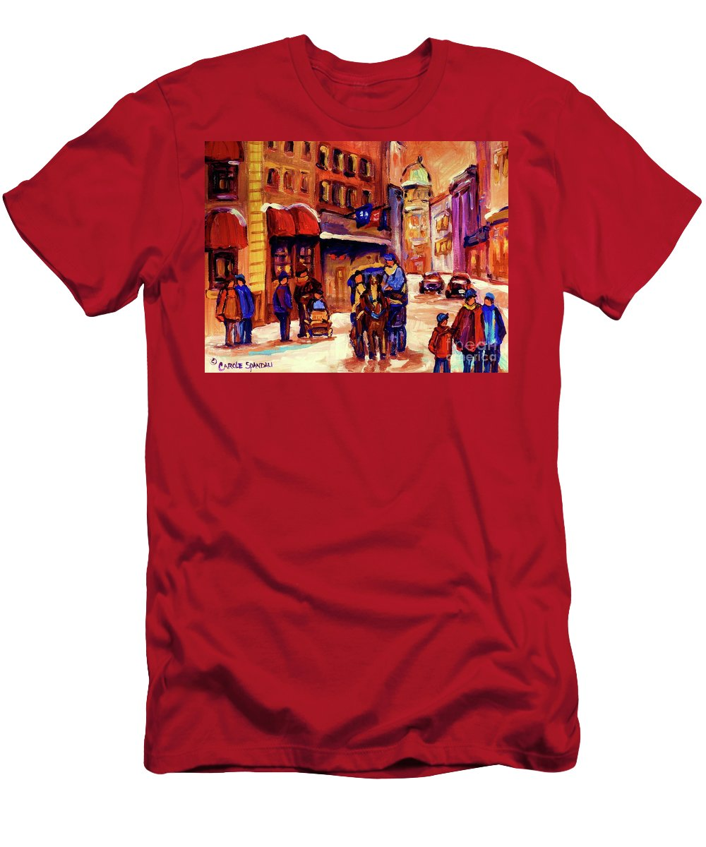 Montreal Men's T-Shirt (Athletic Fit) featuring the painting Rue St. Paul Old Montreal Streetscene In Winter by Carole Spandau