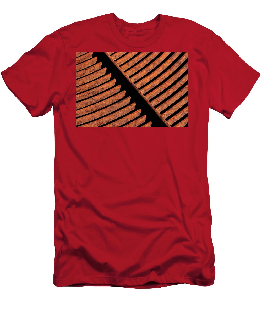 Grate Men's T-Shirt (Athletic Fit) featuring the photograph Rusy Grate by Robert Woodward
