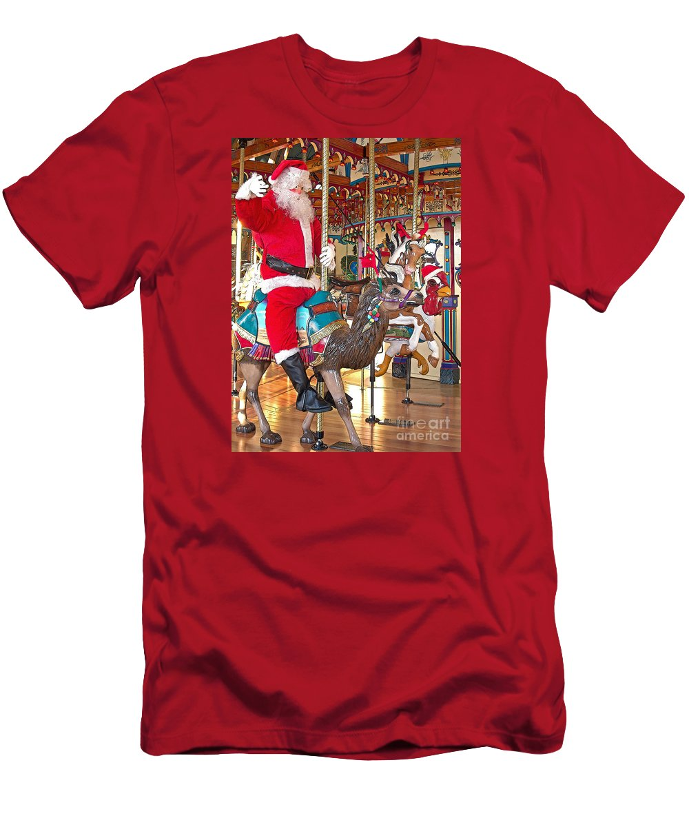 Santa Men's T-Shirt (Athletic Fit) featuring the photograph Santa Go Round by Ann Horn