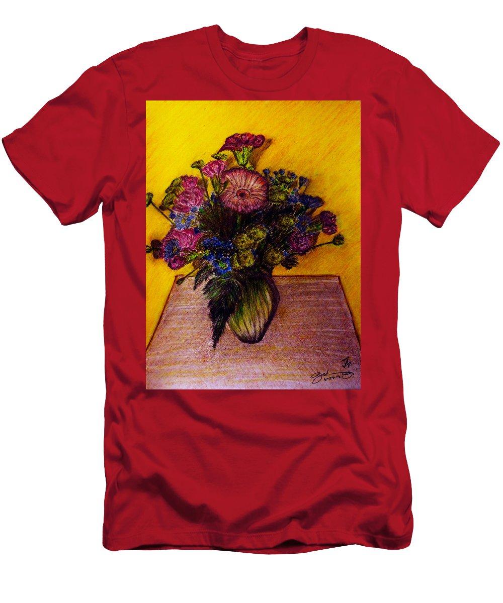 Sarah's Sweet 16 Flowers Men's T-Shirt (Athletic Fit) featuring the drawing Sarah's Sweet 16 Flowers by Jose A Gonzalez Jr
