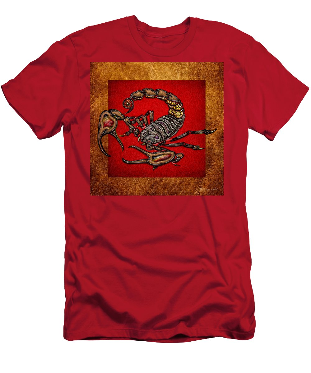 'beasts Creatures And Critters' Collection By Serge Averbukh Men's T-Shirt (Athletic Fit) featuring the digital art Scorpion On Red And Brown Leather by Serge Averbukh
