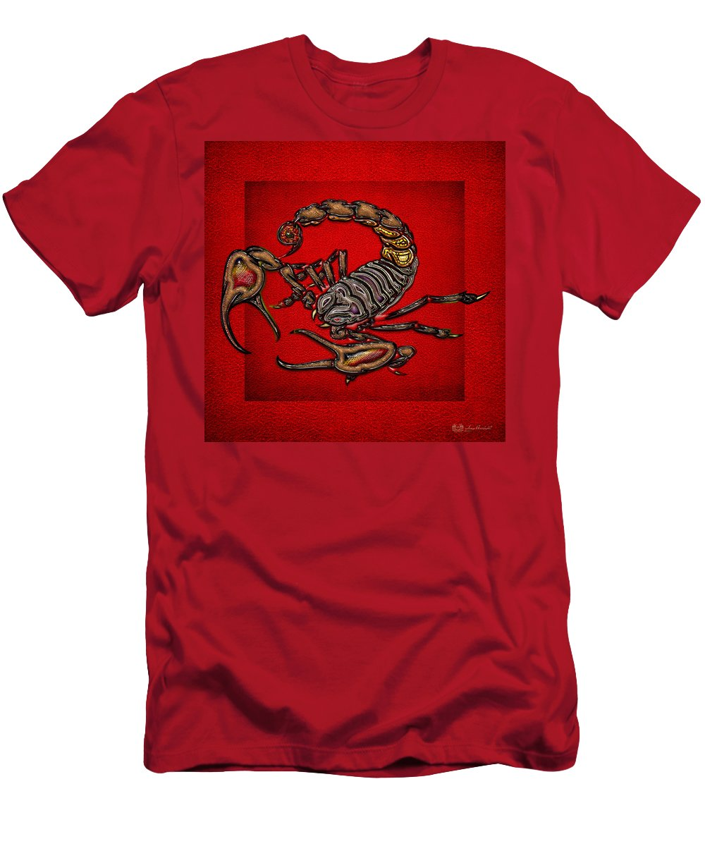 'beasts Creatures And Critters' Collection By Serge Averbukh Men's T-Shirt (Athletic Fit) featuring the digital art Scorpion On Red by Serge Averbukh