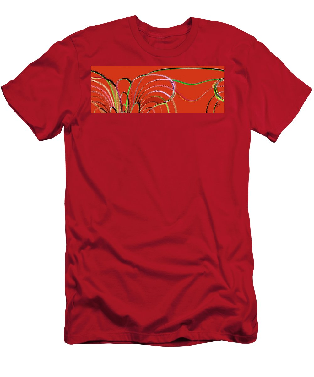 Red Abstract Men's T-Shirt (Athletic Fit) featuring the digital art Serpentine by Ben and Raisa Gertsberg