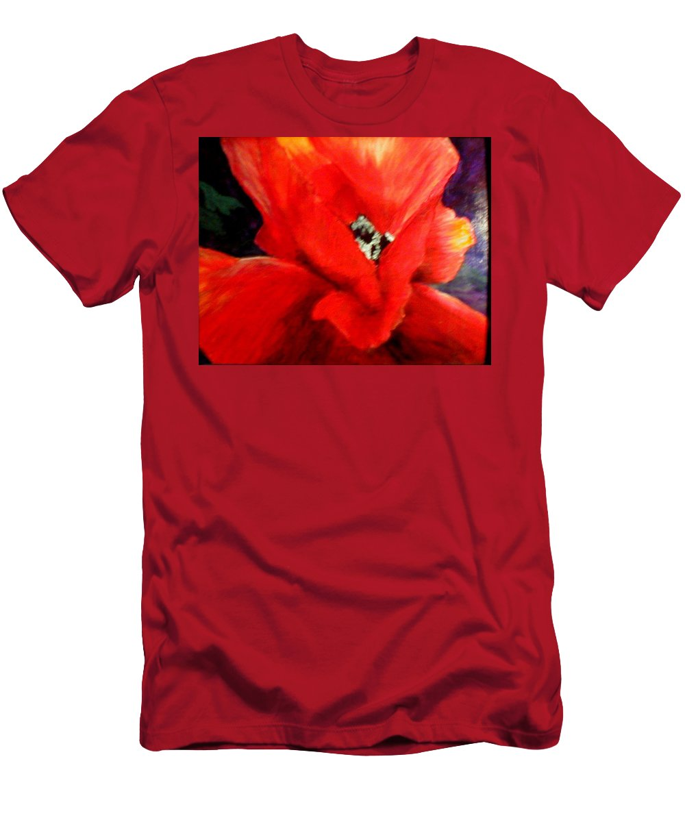 Floral Men's T-Shirt (Athletic Fit) featuring the painting She Wore Red Ruffles by Gail Kirtz
