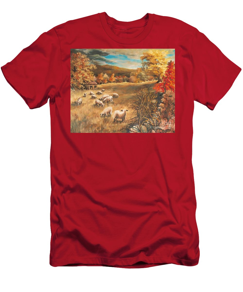 Oil Painting T-Shirt featuring the painting Sheep in October's field by Joy Nichols
