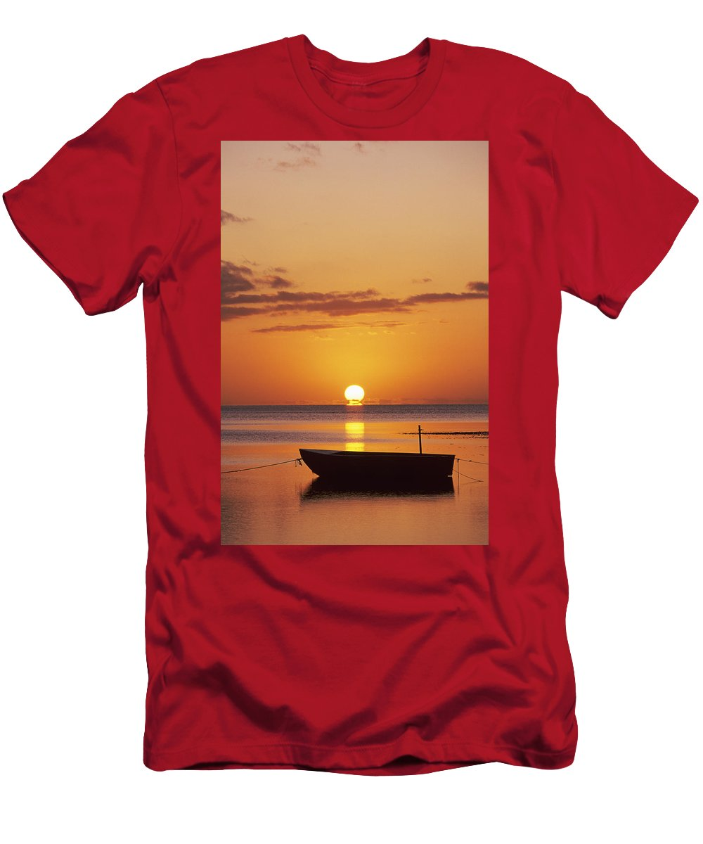 Air Art Men's T-Shirt (Athletic Fit) featuring the photograph Silhouetted Boat by John Hyde - Printscapes