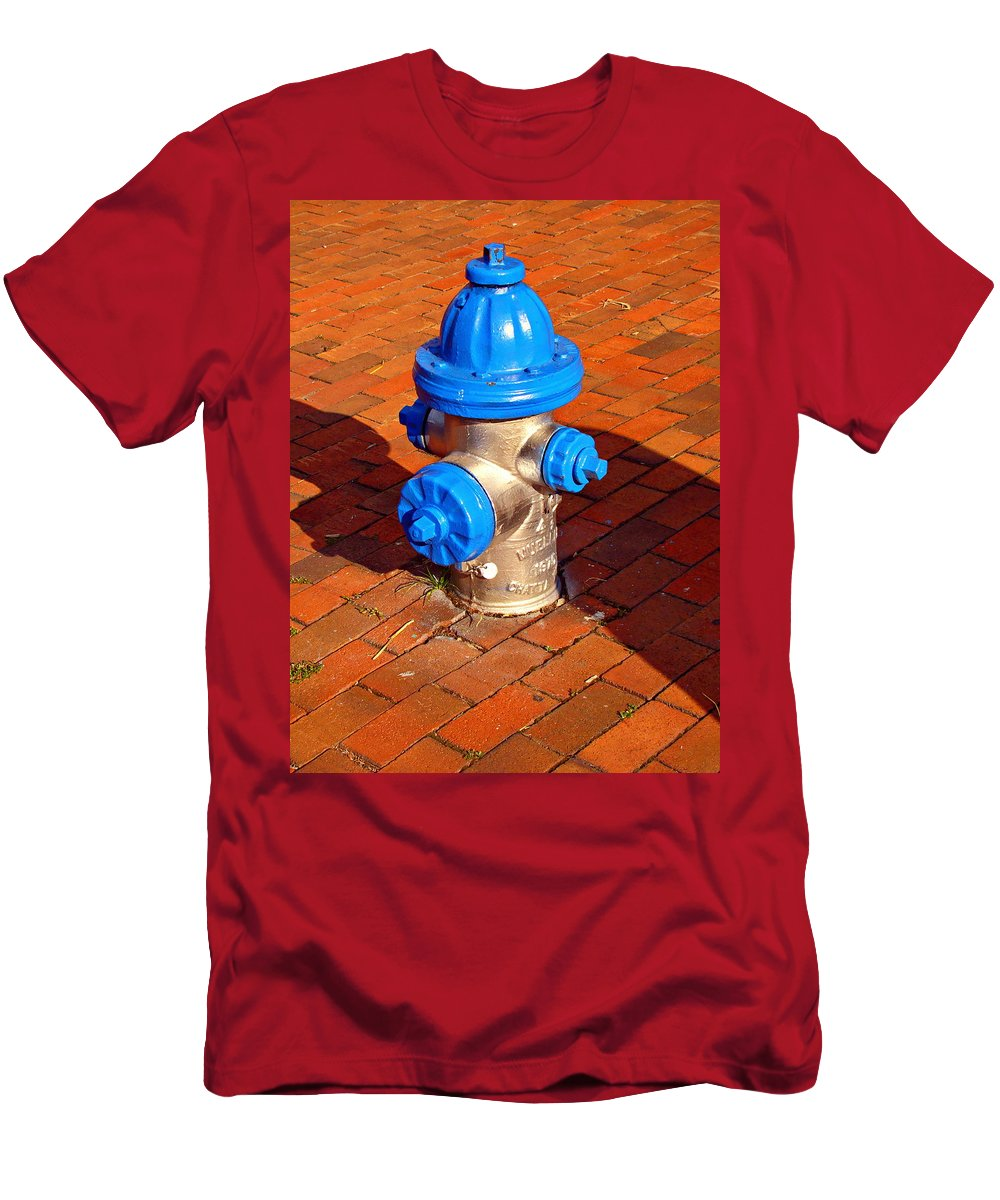Fine Art Men's T-Shirt (Athletic Fit) featuring the photograph Silver And Blue Hydrant by Rodney Lee Williams
