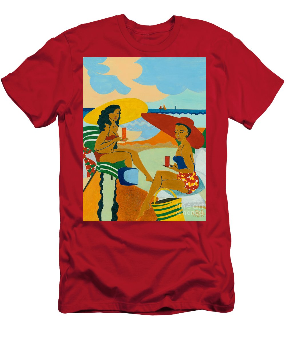 Summer Men's T-Shirt (Athletic Fit) featuring the painting Sizzling Summer by Elisabeta Hermann