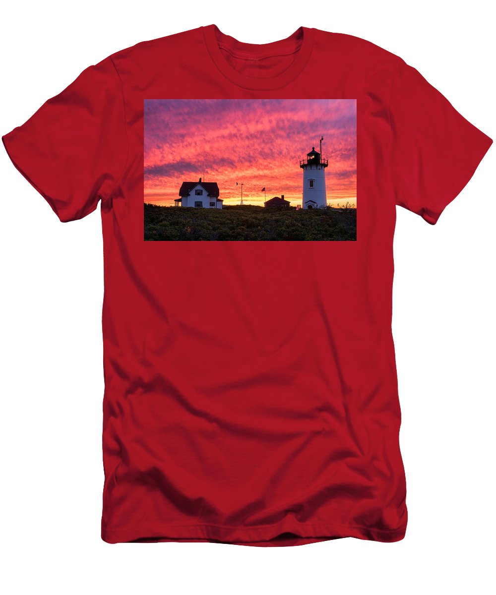 Cape Cod Men's T-Shirt (Athletic Fit) featuring the photograph Sky On Fire by Michael Blanchette