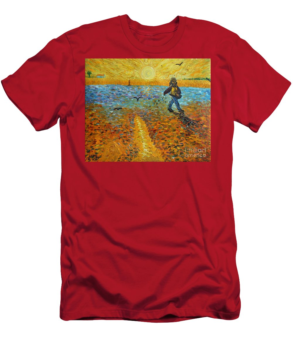 Impressionism Men's T-Shirt (Athletic Fit) featuring the painting Sower Of Squiggles by Stefan Duncan