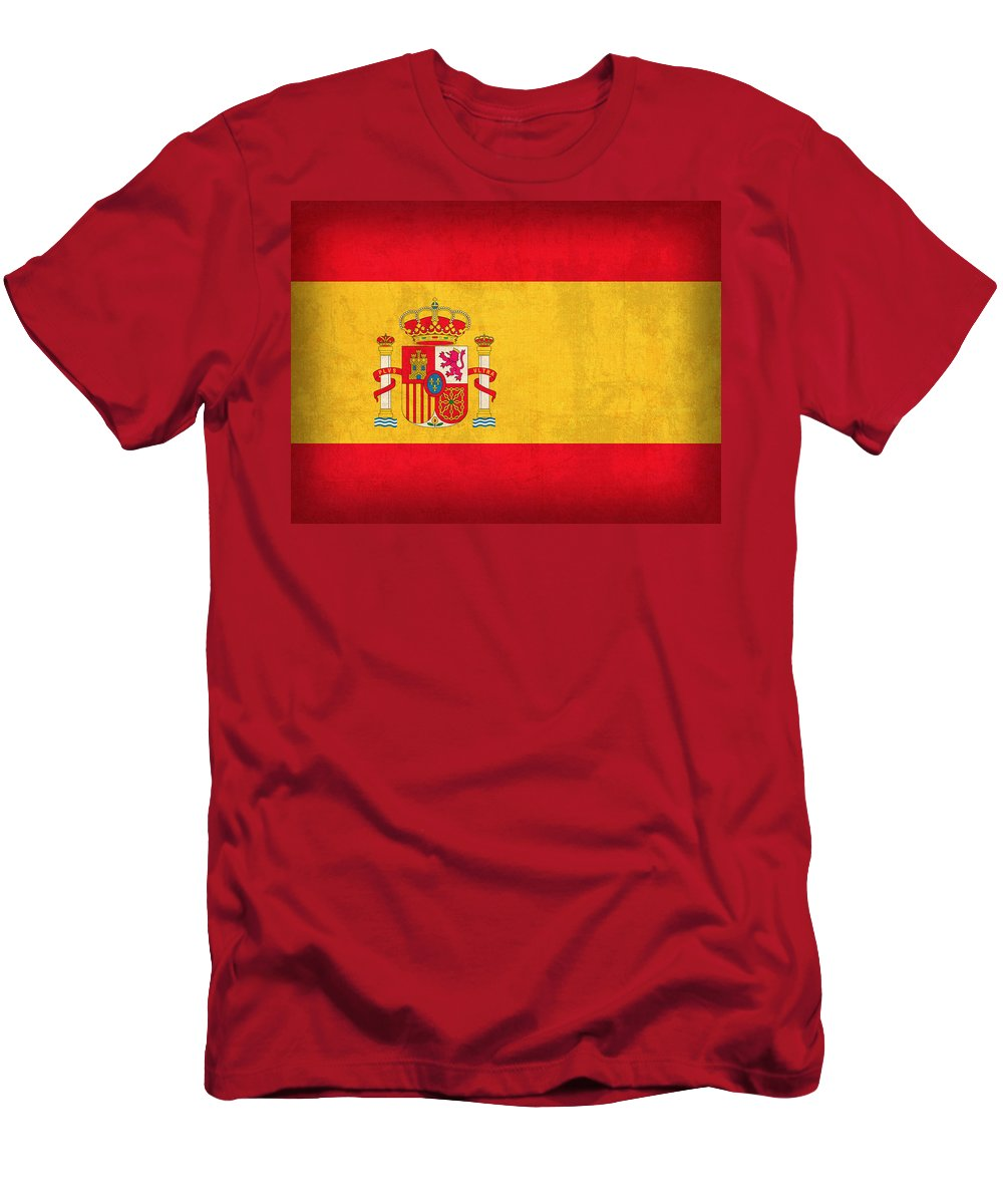 Spain Flag Vintage Distressed Finish Spanish Madrid Barcelona Europe Nation Country T-Shirt featuring the mixed media Spain Flag Vintage Distressed Finish by Design Turnpike