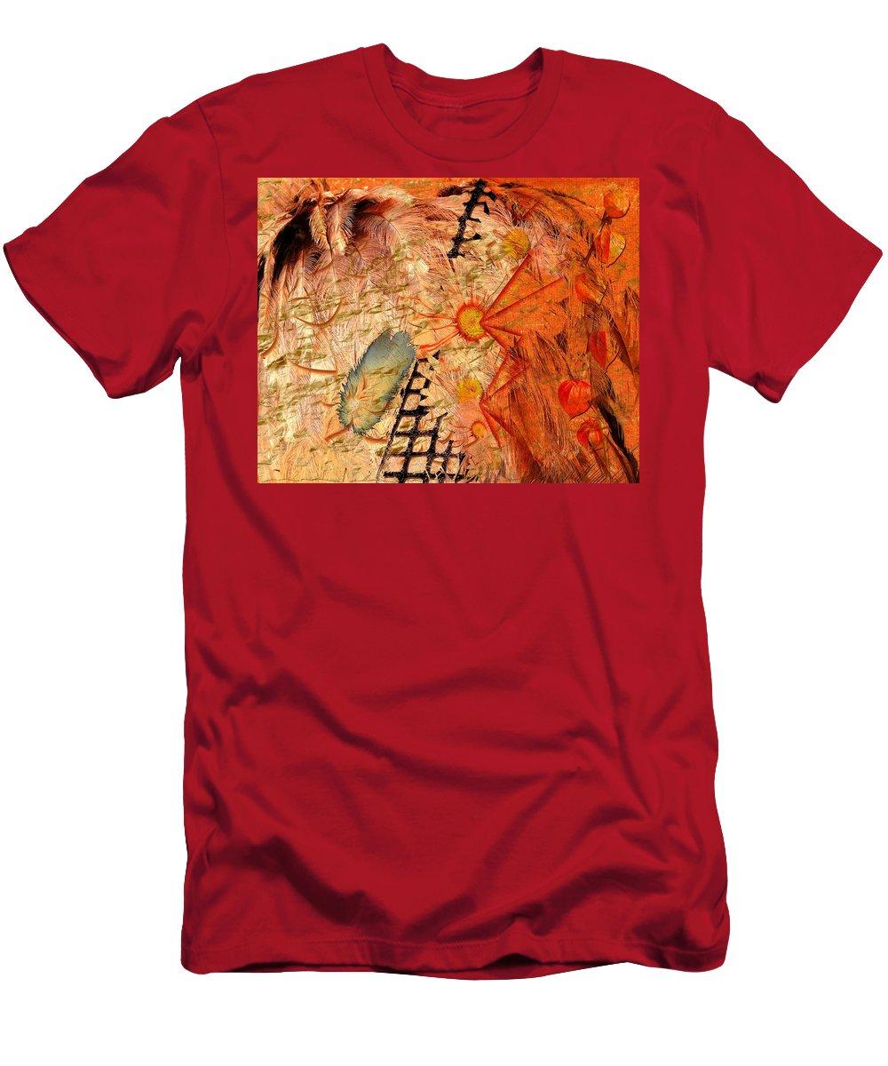 native American american Indian Dreamweaver Spirit Mystical Journey Nature Spirit Earth Belief Path Brown Orange Blue Grey Horizontal Men's T-Shirt (Athletic Fit) featuring the digital art Spirit Walk by Paula Ayers