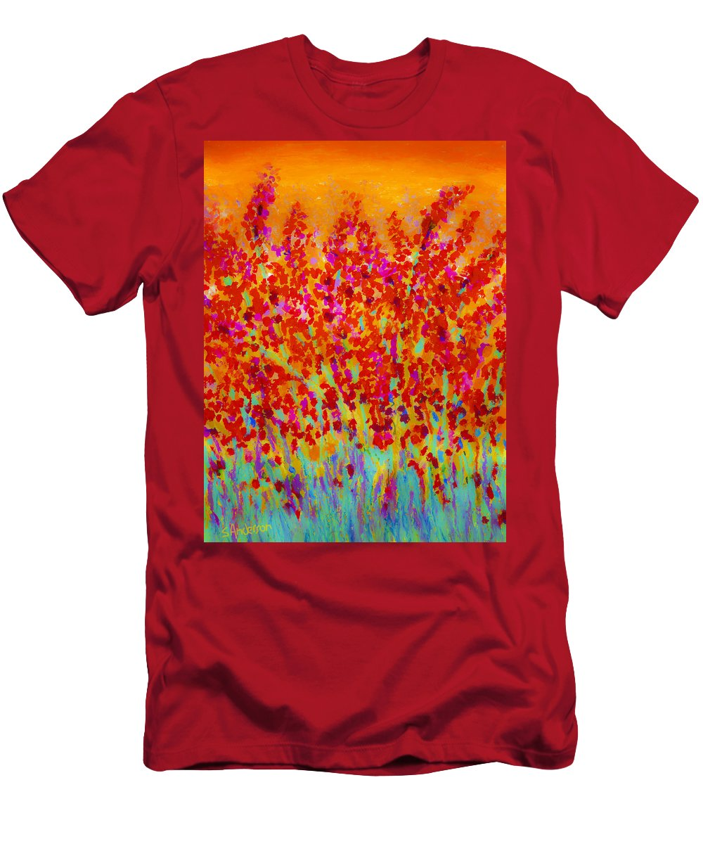 Flowers Men's T-Shirt (Athletic Fit) featuring the painting Spring Day by Stephen Anderson