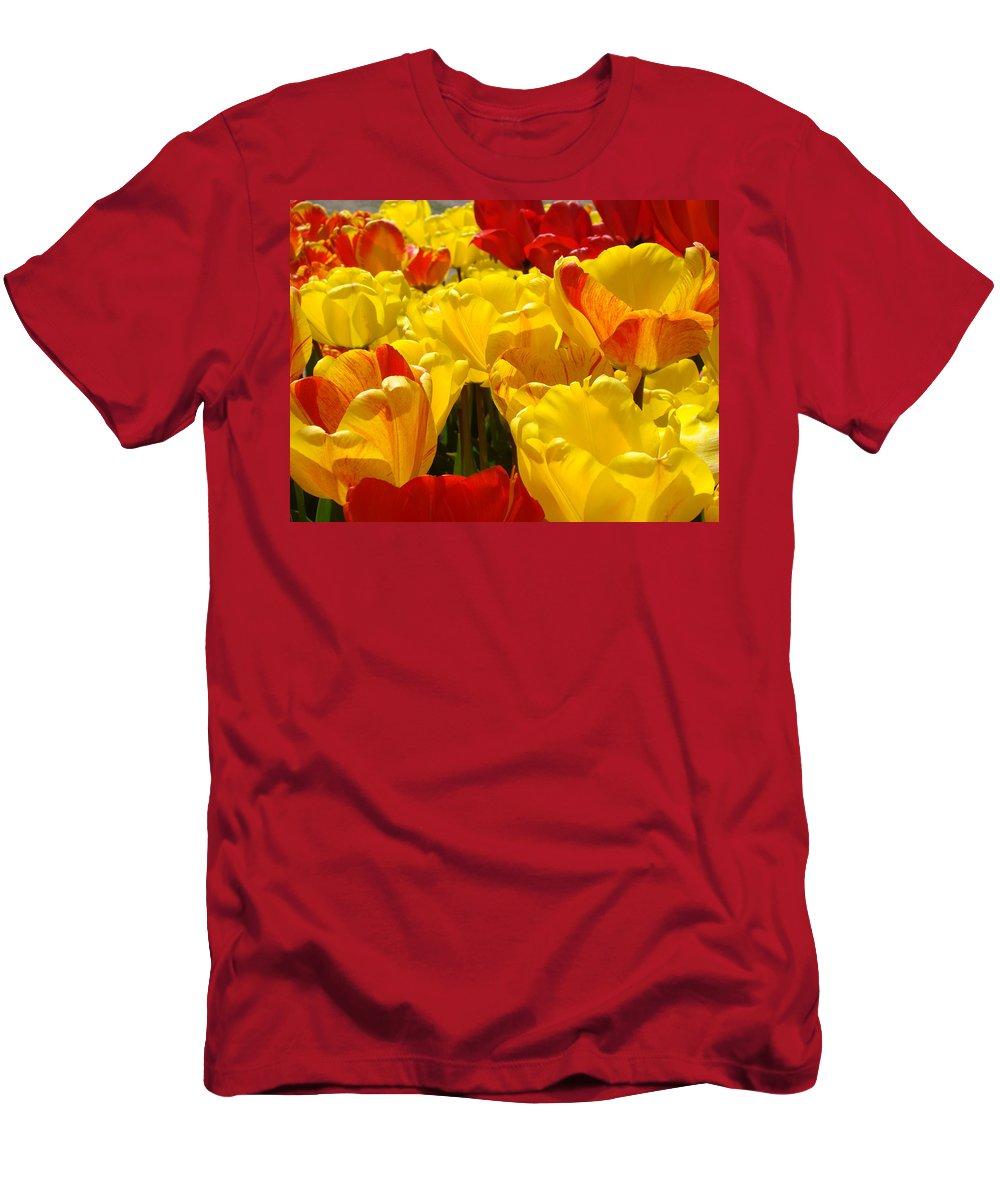 Yellow Men's T-Shirt (Athletic Fit) featuring the photograph Spring Tulips Art Prints Yellow Red Tulip Flowers by Baslee Troutman