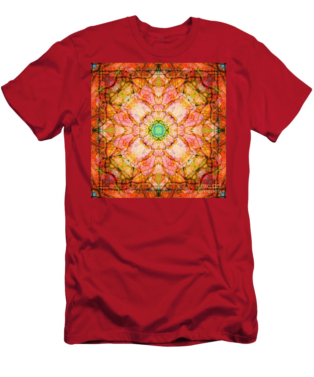 Rainbow Men's T-Shirt (Athletic Fit) featuring the photograph Stained Glass Mandala by Susan Bloom