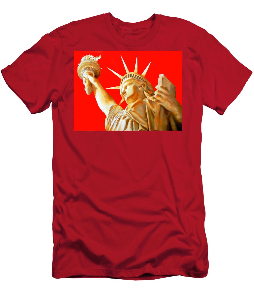 Statue Of Liberty Men's T-Shirt (Athletic Fit) featuring the painting S T A T U E . O F . L I B E R T Y . In Red by J - O  N  E