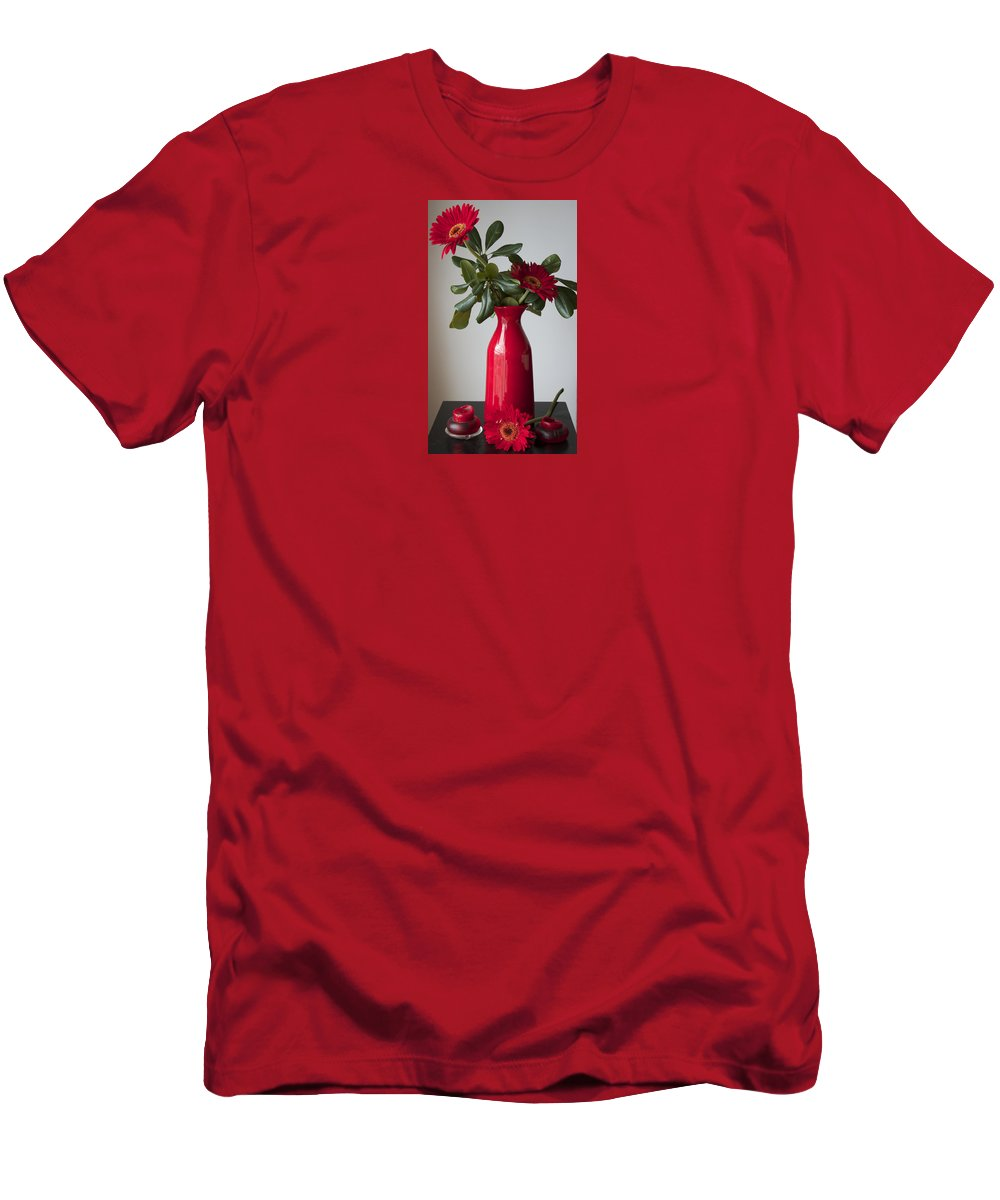 Flowers Men's T-Shirt (Athletic Fit) featuring the photograph Still Life Flower Study In Red by Venetia Featherstone-Witty