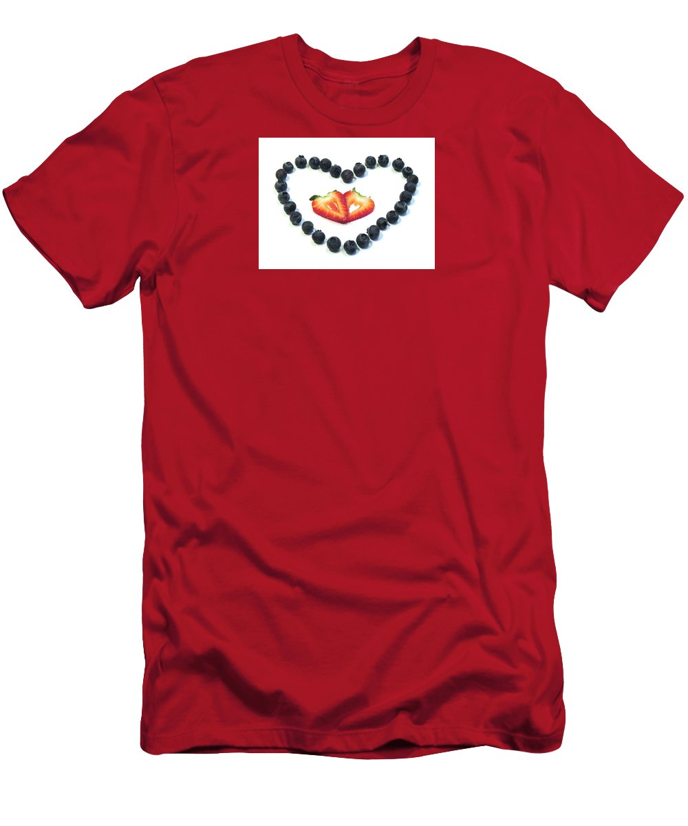 Strawberries Men's T-Shirt (Athletic Fit) featuring the photograph Strawberries Are Red Blueberries Are Blue by Angela Davies