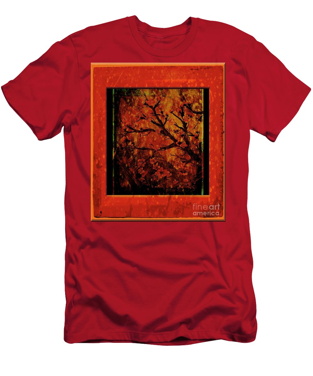 Stylized Cherry Tree With Old Textures And Border Men's T-Shirt (Athletic Fit) featuring the painting Stylized Cherry Tree With Old Textures And Border by Barbara Griffin