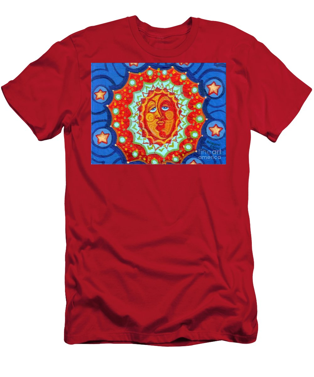 Sun Men's T-Shirt (Athletic Fit) featuring the painting Sun God by Genevieve Esson