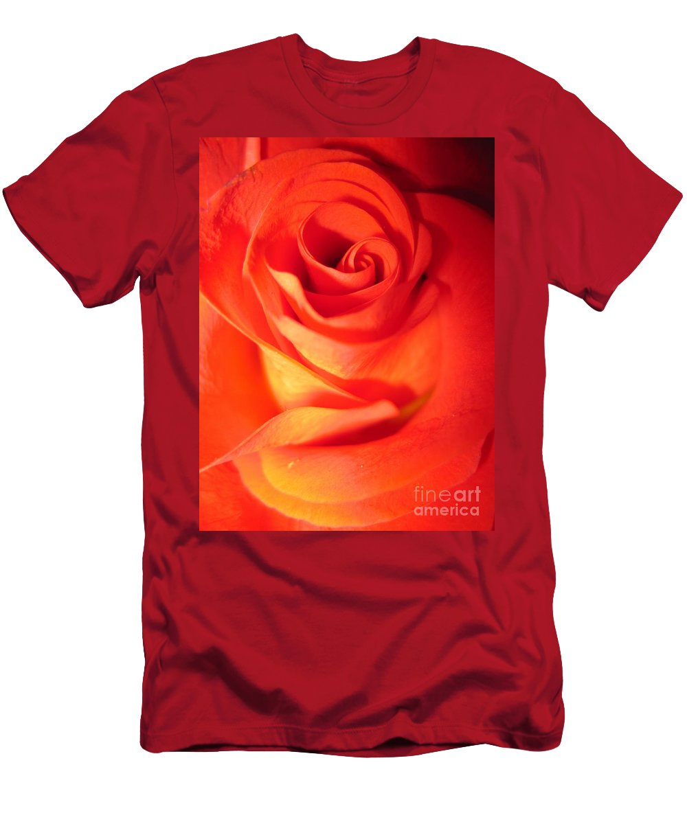 Floral Men's T-Shirt (Athletic Fit) featuring the photograph Sunkissed Orange Rose 10 by Tara Shalton