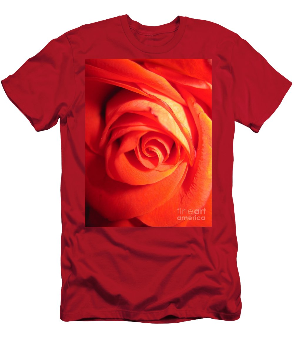 Floral Men's T-Shirt (Athletic Fit) featuring the photograph Sunkissed Orange Rose 11 by Tara Shalton