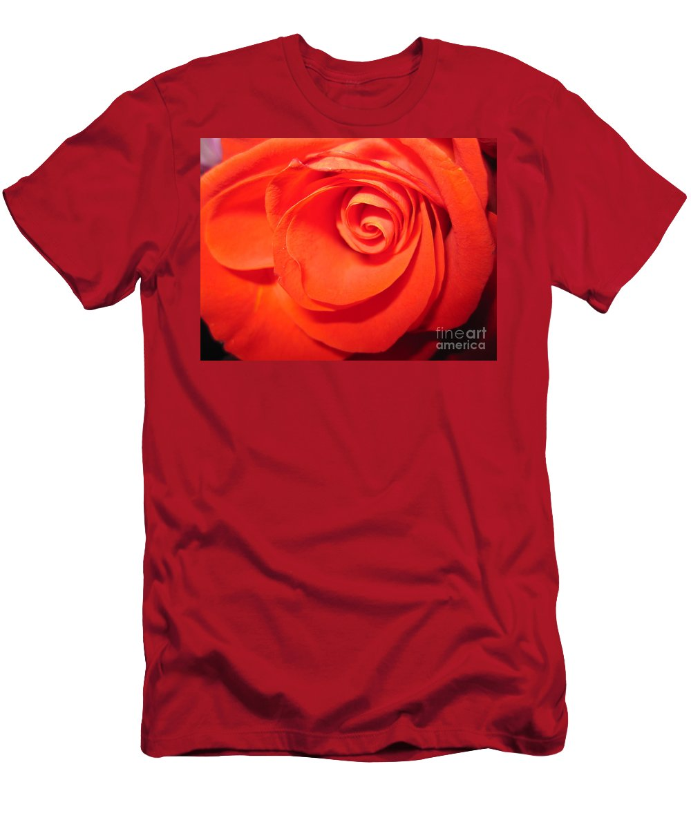 Floral Men's T-Shirt (Athletic Fit) featuring the photograph Sunkissed Orange Rose 9 by Tara Shalton