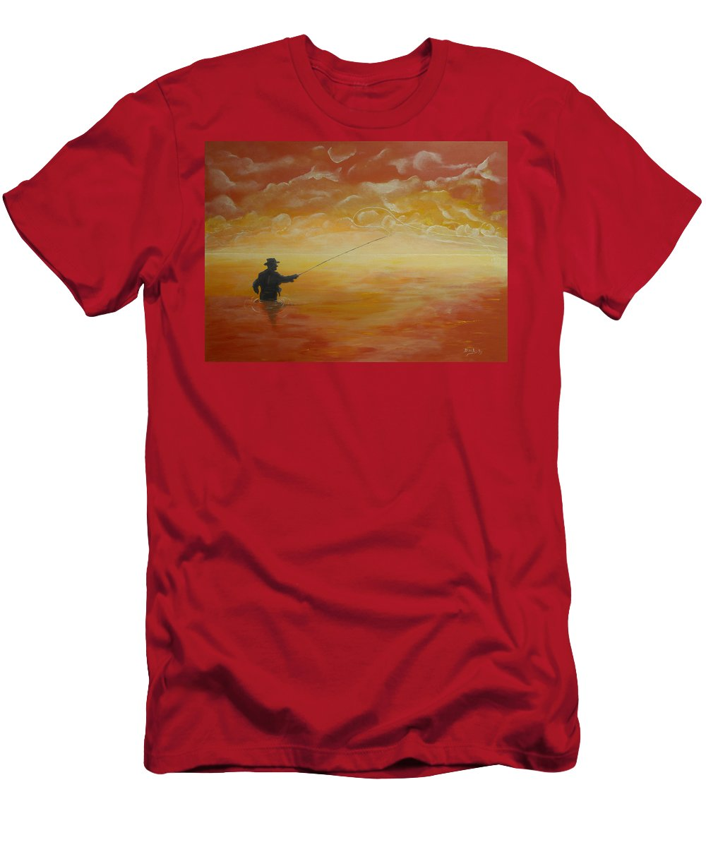 Fishing Men's T-Shirt (Athletic Fit) featuring the painting Sunrise Fishing by Donna Blackhall